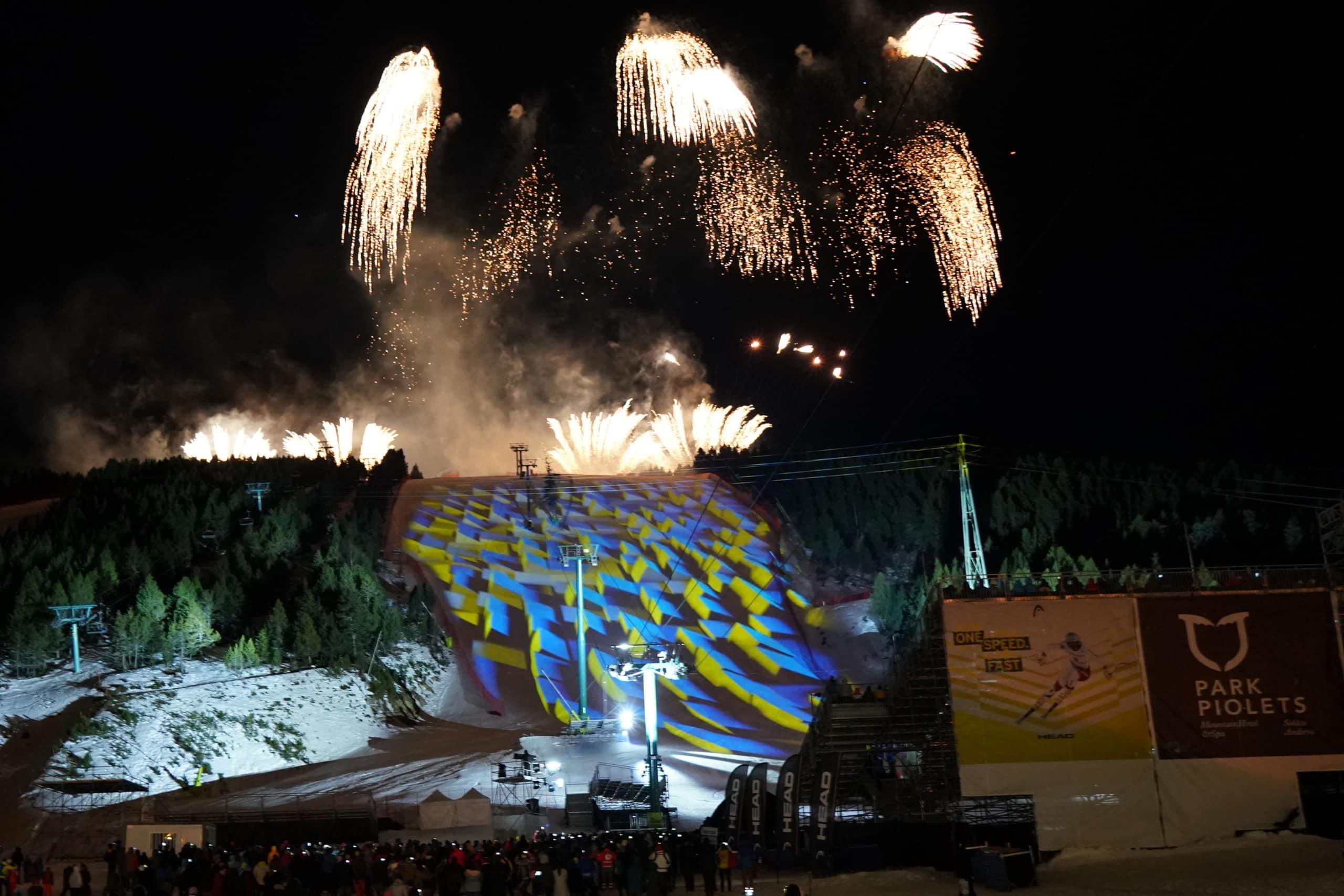 Espectáculos para eventos deportivos. Video-mapping para la ceremonia de inauguración realizado para el Mundial de Ski Andorra 2019.
